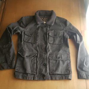 J. Crew w's XS black washed & aged utility jacket